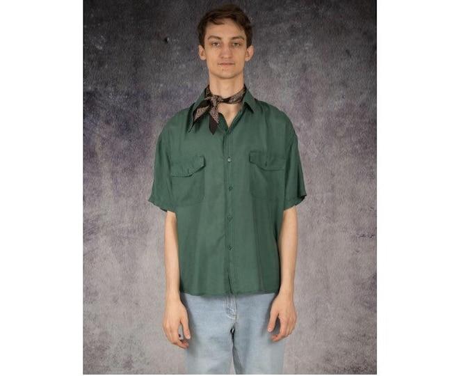 Dark green mens pure silk short sleeve silk collar button up shirt / vintage 90s MOOHA menswear