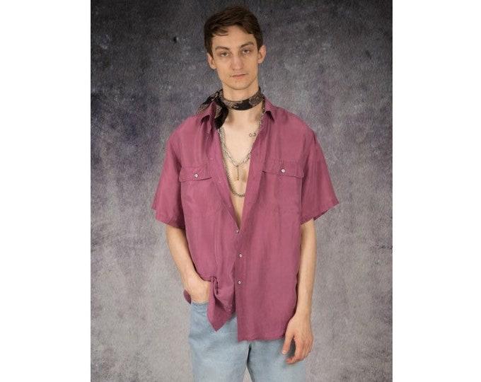 Pure silk Mens vintage 90s short sleeve pink color silk collar button up shirt / MOOHA menswear