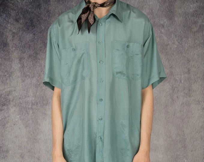 Vintage 90s pale green color mens pure silk short sleeve silk collar button up shirt / MOOHA menswear