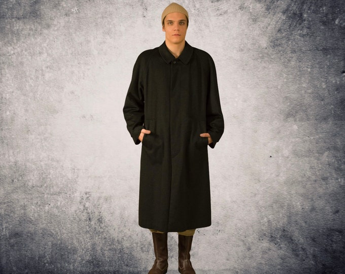 Vintage 90s Luxurious Pure cashmere dark gray winter long coat / menswear vintage clothing