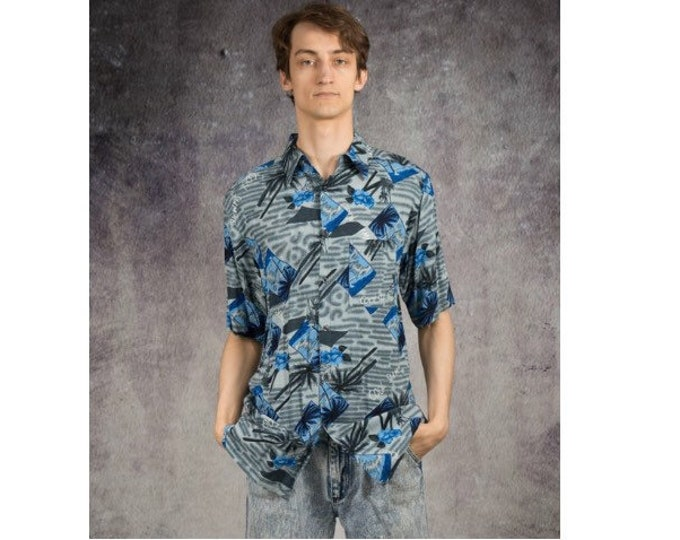 Holiday, summer mens shirt with beautiful blue palms pattern from the 90s / Mooha Menswear