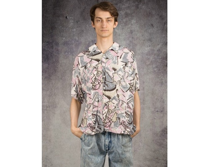 90s men's summer shirt with short sleeve abstract print • Vintage clothing size M/L
