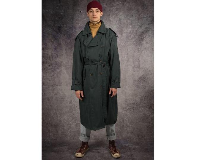 Retro 90s men's dark green, long detective trench coat / menswear vintage clothing by MOOHA