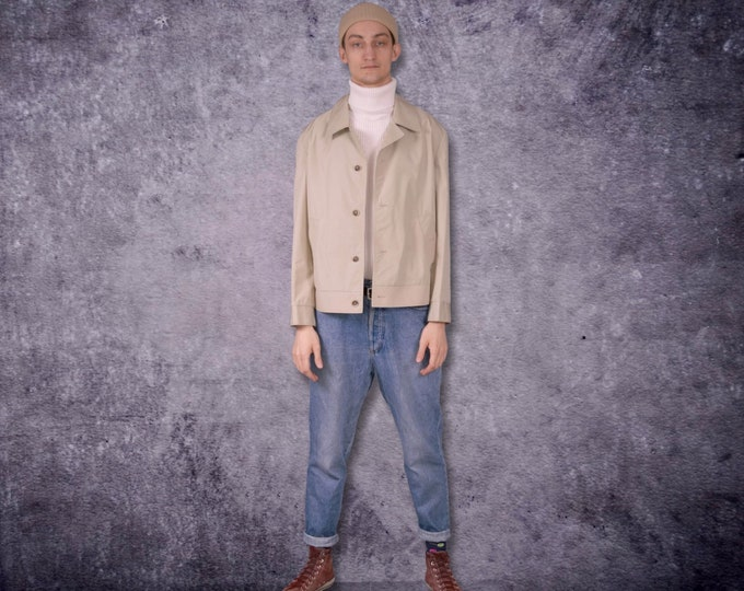 Vintage 90s minimalist, cream color, beige Denim Trucker or bomber jacket / Moohamenswear vintage clothing