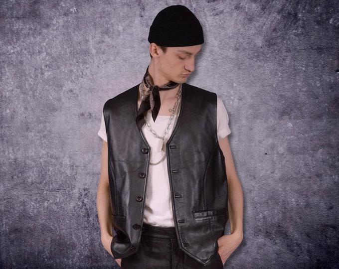 Vintage 90s real leather, classic black  minimalistic casual men's waistcoat, vest, gilet, sleeveless jacket