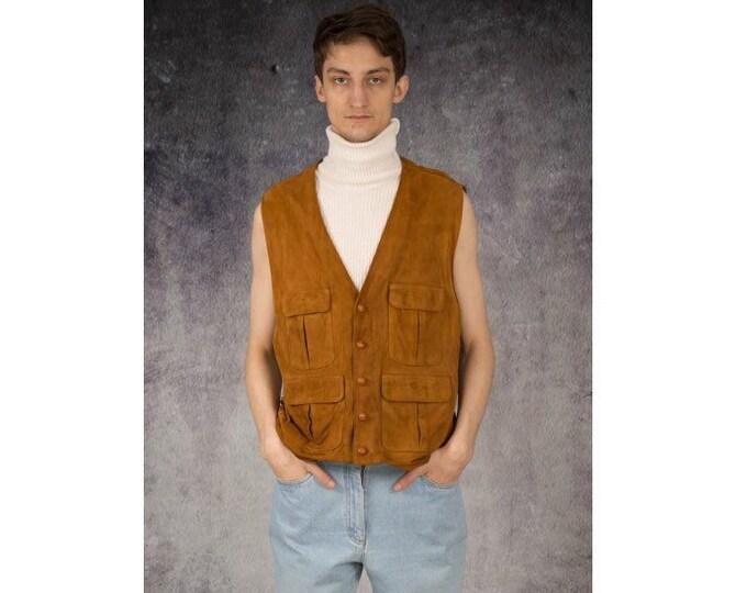 Vintage 90s real suede, light brown minimalistic casual men's waistcoat, vest, gilet, sleeveless jacket / MOOHA menswear