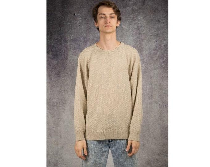 90s vintage men's  grunge slouchy beige sweater / jumper for Old School Clothing Lovers