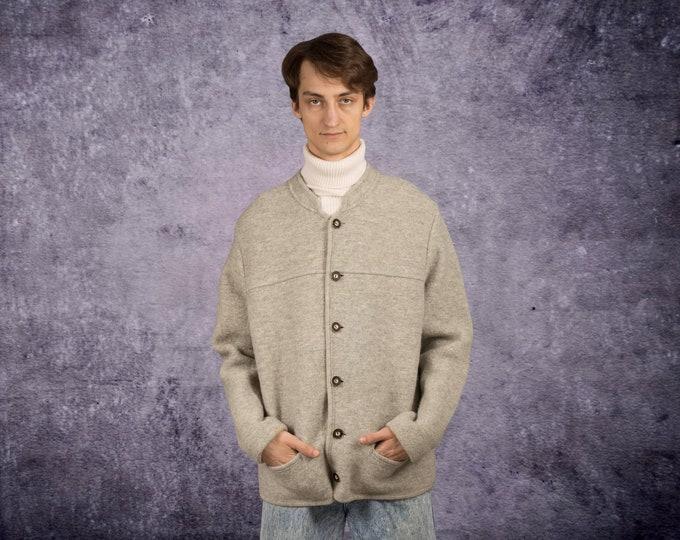Vintage 90s gray, virgin wool mens austrian jacket, blazer, cardigan • menswear vintage clothing size L