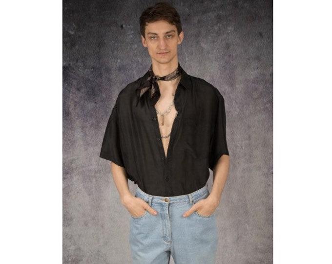 Eye catching 90s old school intense black pure silk short sleeve silk collar button up shirt / MOOHA menswear