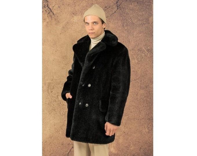 lVintage 70s swag men's black faux fur coat, double breasted Overcoat size M/L