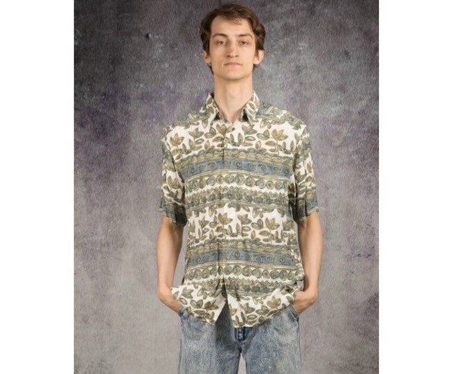 Men's Old School 90s  short sleeve botanic graphic boho print collar shirt
