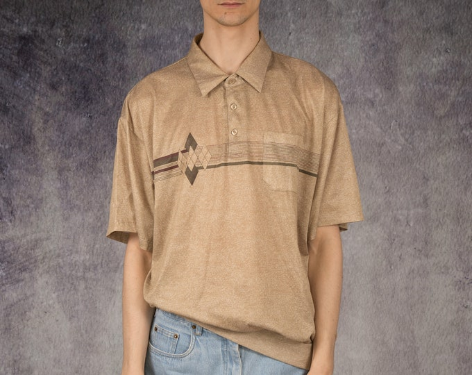 Vintage 90s summer beige polo shirt with short sleeve with graphic print for men size L