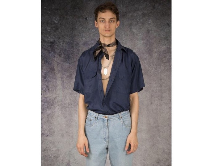 Retro 90s casual mens navy blue pure silk short sleeve silk collar button up shirt / MOOHA menswear