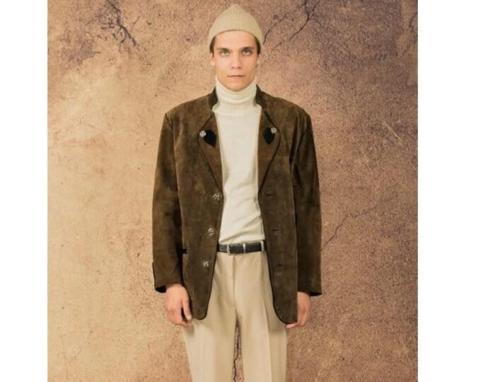 Vintage blazer 90s leather khaki Bavarian mens Janker Jacket called Trachtenjanker • menswear vintage clothing
