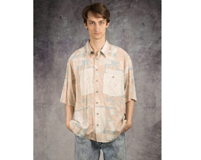 Retro 90s summer shirt with abstract artsy print in beautiful pastel colors for men size XL