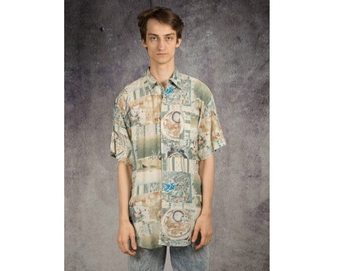Old school men's Vintage 90s  short sleeve abstract graphic boho print collar shirt in pastel colors