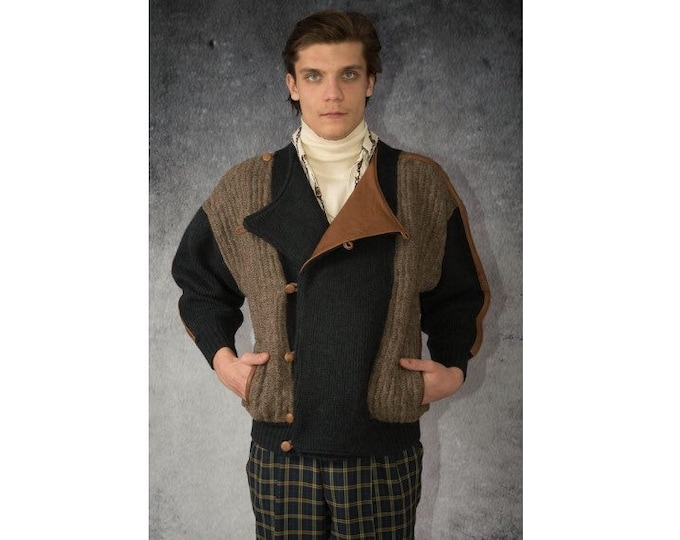 Ruby Italy designers Vintage Men's Grunge, Slouchy, Buckled, Alpaca and wool Knit Jacket / Cardigan / Sweater with Fancy Leather Details