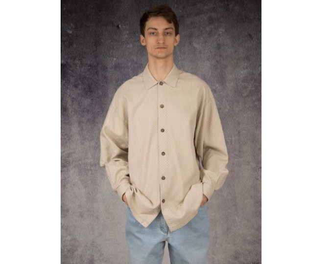 Men's Vintage 90s classic and elegant beige long sleeve collar shirt size L / Mooha Menswear