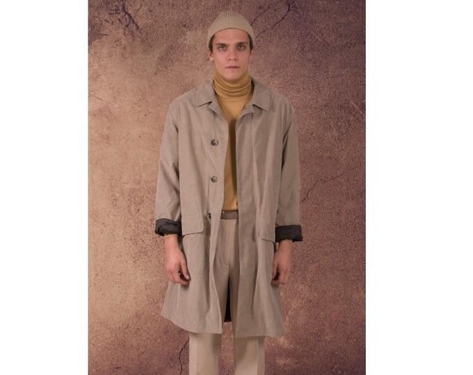 Vintage 90s men's beige dope, short coat / menswear vintage clothing by Mooha menswear