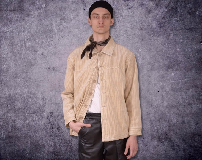 Vintage 90s mens Beige Corduroy Sherpa Trucker Jacket /  vintage 90s men's cord outerwear