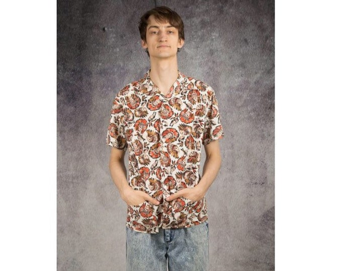 Indians pattern collared shirt with short sleeves, beautiful eye-catcher from the 90s