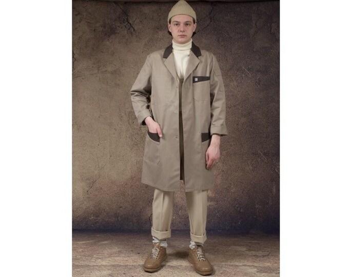 Vintage 90s men's beige coat, Work chore Utility Outerwear • Men's Workwear wearhouse outfit size M