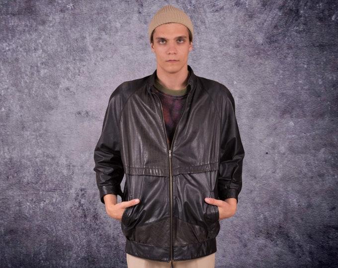 Black real leather grunge men's jacket, Vintage 90s  classic car coat