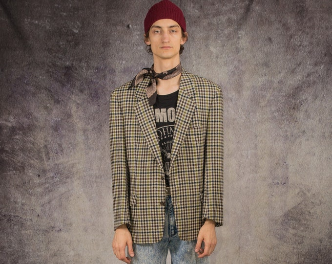 90s blazer with checkered pattern in gray, blue and yellow / vintage clothing by MOOHA