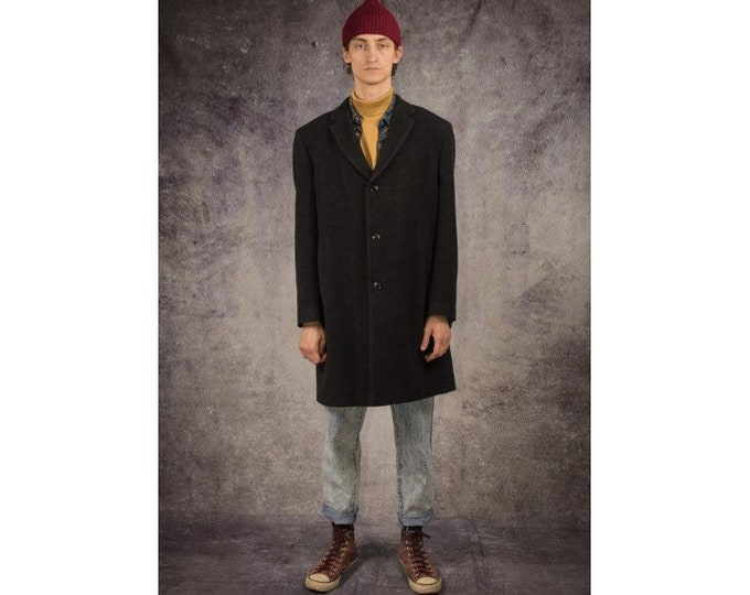 90s overcoat in minimalist style, with notch collar, in dark grey color / Menswear Vintage Clothing by Mooha