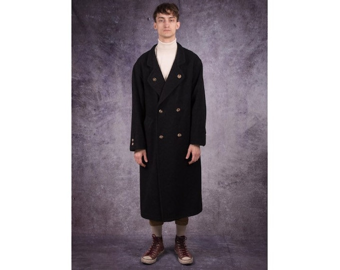 90s long overcoat in luxurious style and dark gray color, fancy buttons / retro streetwear / menswear vintage clothing