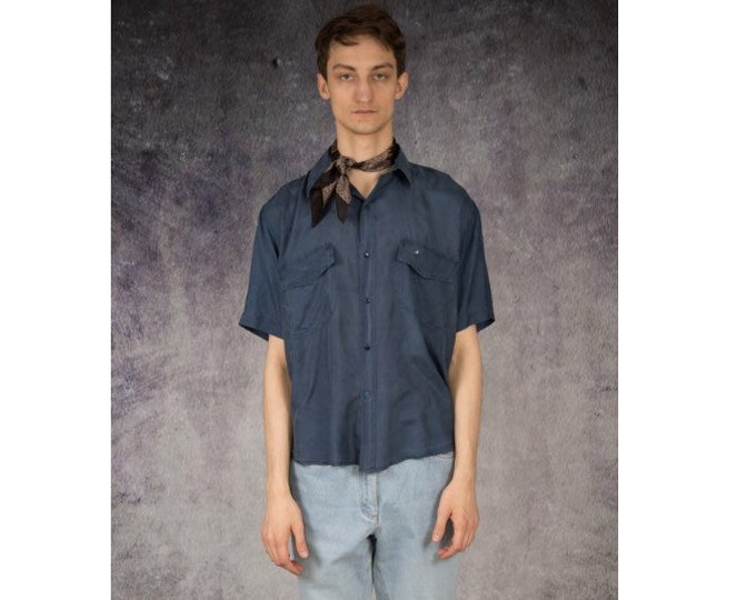 Fantastic vintage 90s mens navy blue pure silk short sleeve silk collar button up shirt / MOOHA menswear