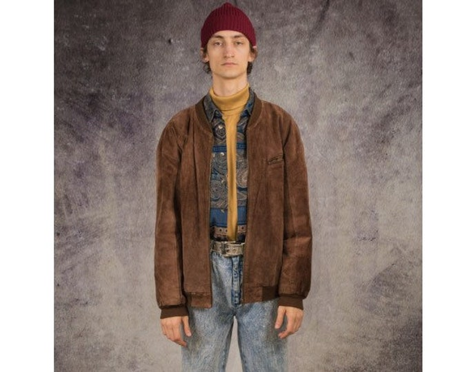 90s bomber jacket, made of genuine suede in brown color / Retro Clothing by MoohaMenswear
