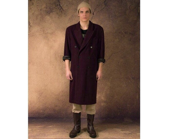 Vintage 80s men's beetroot color rich wool blend trench coat