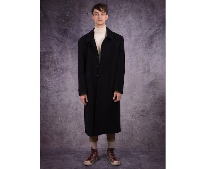 90s super long coat in formal style, deep black color, wool blend / menswear vintage clothing