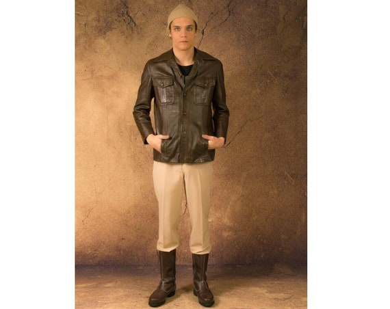 Vintage 70s brown real leather casual men's jacket
