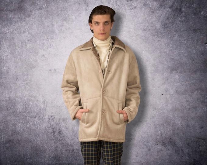 Vintage 90s beige faux sheepskin men's Shearling coat size L