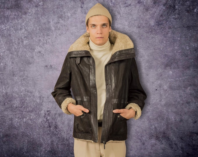 Mens Vintage brown Flying Jacket from the 90s size S for aviator outerwear lovers