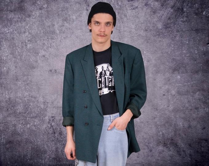 Teal color checkered wool blazer, vintage 90s grunge men's jacket