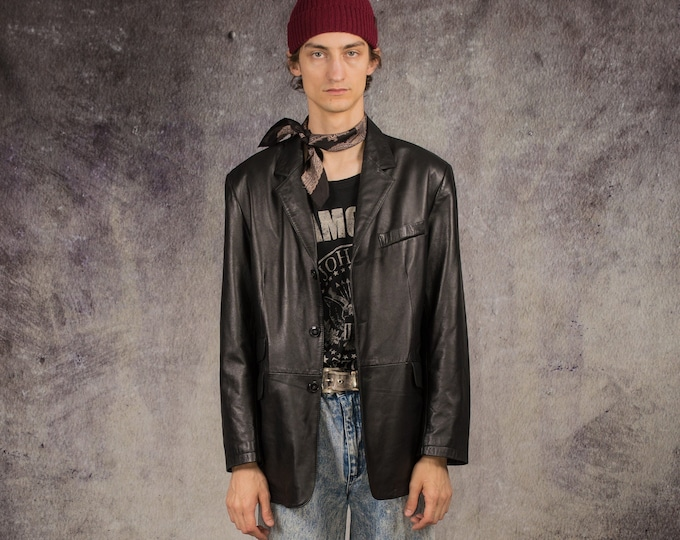 90s car coat in motorcycle style, made of real nappa leather in black color / Retro Clothing by Mooha