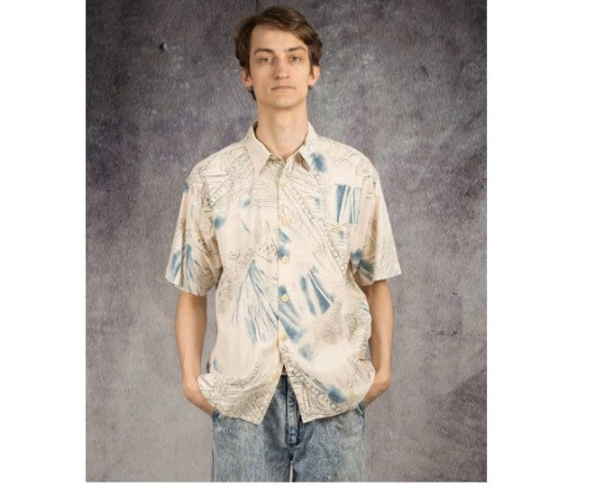 Elegant and comfortable, pastel print collared shirt with short sleeves from the 90s