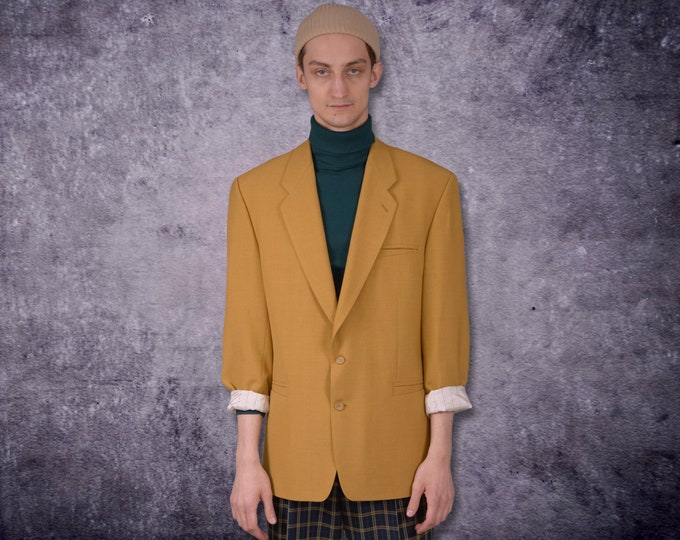 Vintage 90s classic, minimalistic, mustard color blazer, mens jacket / vintage clothing by MOOHA