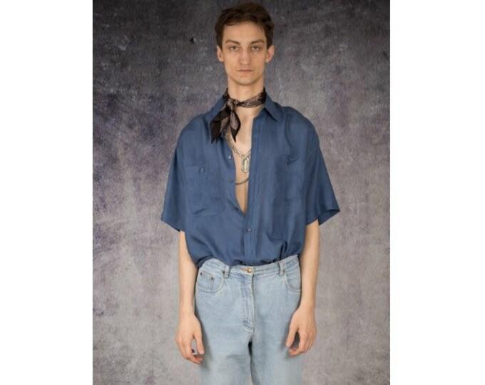 Navy blue old school 90s pure silk short sleeve silk collar button up shirt / MOOHA menswear