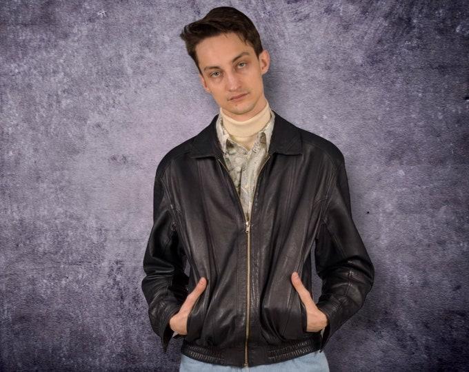 90s vintage black real leather grunge men's biker jacket, car coat for old school look fans