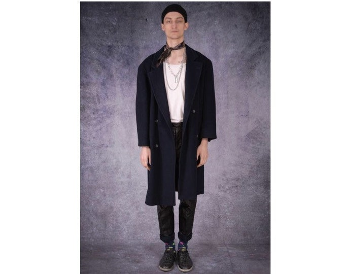 Vintage 90s men's casual navy blue short detective trench coat / menswear vintage clothing by MOOHA