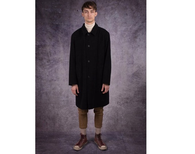 90s short coat, wool blend jacket in minimalist style and black color / menswear vintage clothing