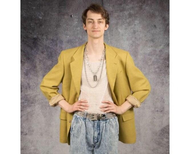 Retro 90s minimalistic, eye-catching pistachio yellow mens jacket or blazer / vintage clothing by MOOHA
