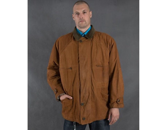 Vintage 90s Italian real nappa leather, classic brown / camel casual  men's parka jacket
