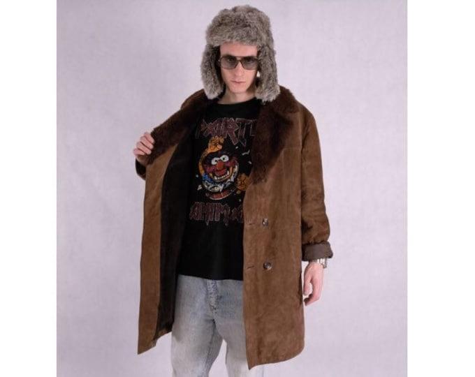 90's Genuine leather brown men's Shearling Jacket • Faux sheepskin Short coat• mens Vintage clothing