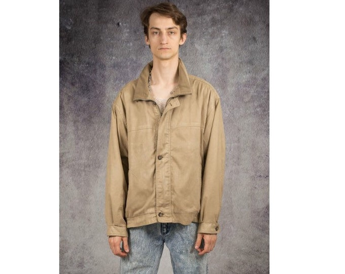 Old school 90s beige faux suede,classic, minimalistic casual men's biker jacket / MoohaMenswear