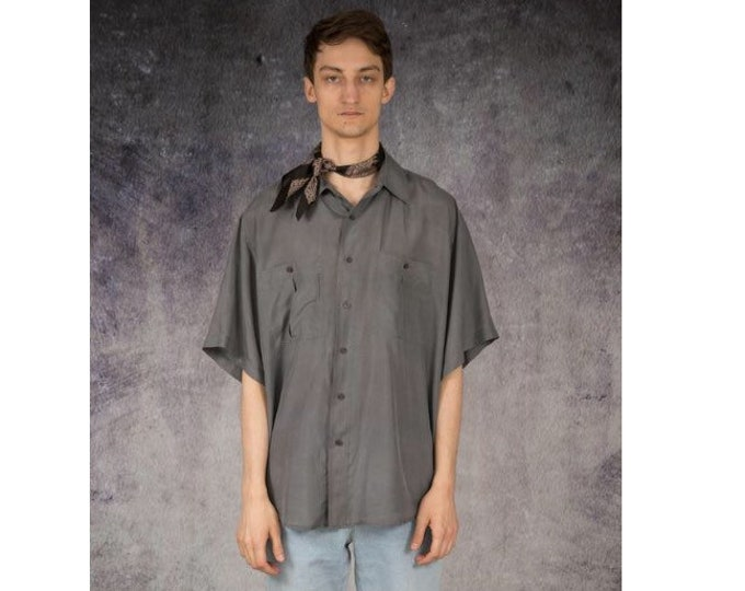 Fabulous vintage 90s grey pure silk short sleeve silk collar button up shirt / MOOHA menswear